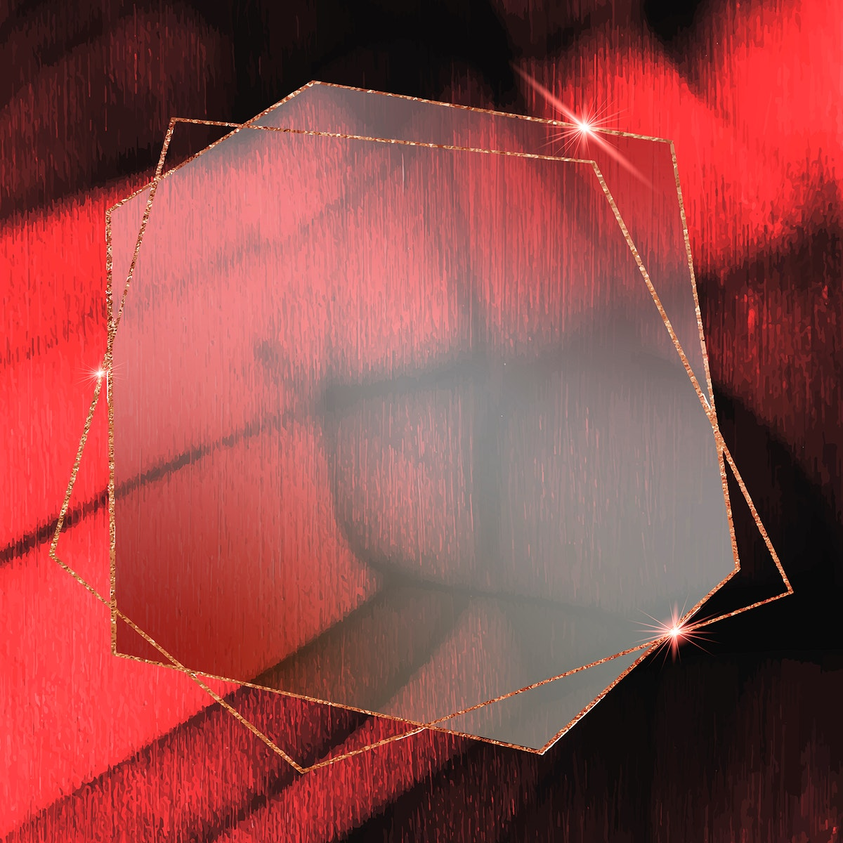 Hexagon gold frame on abstract background vector