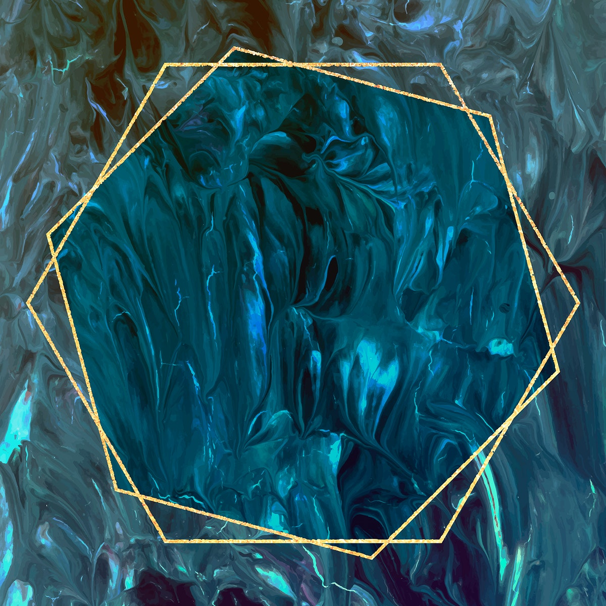 Hexagon frame on abstract background vector