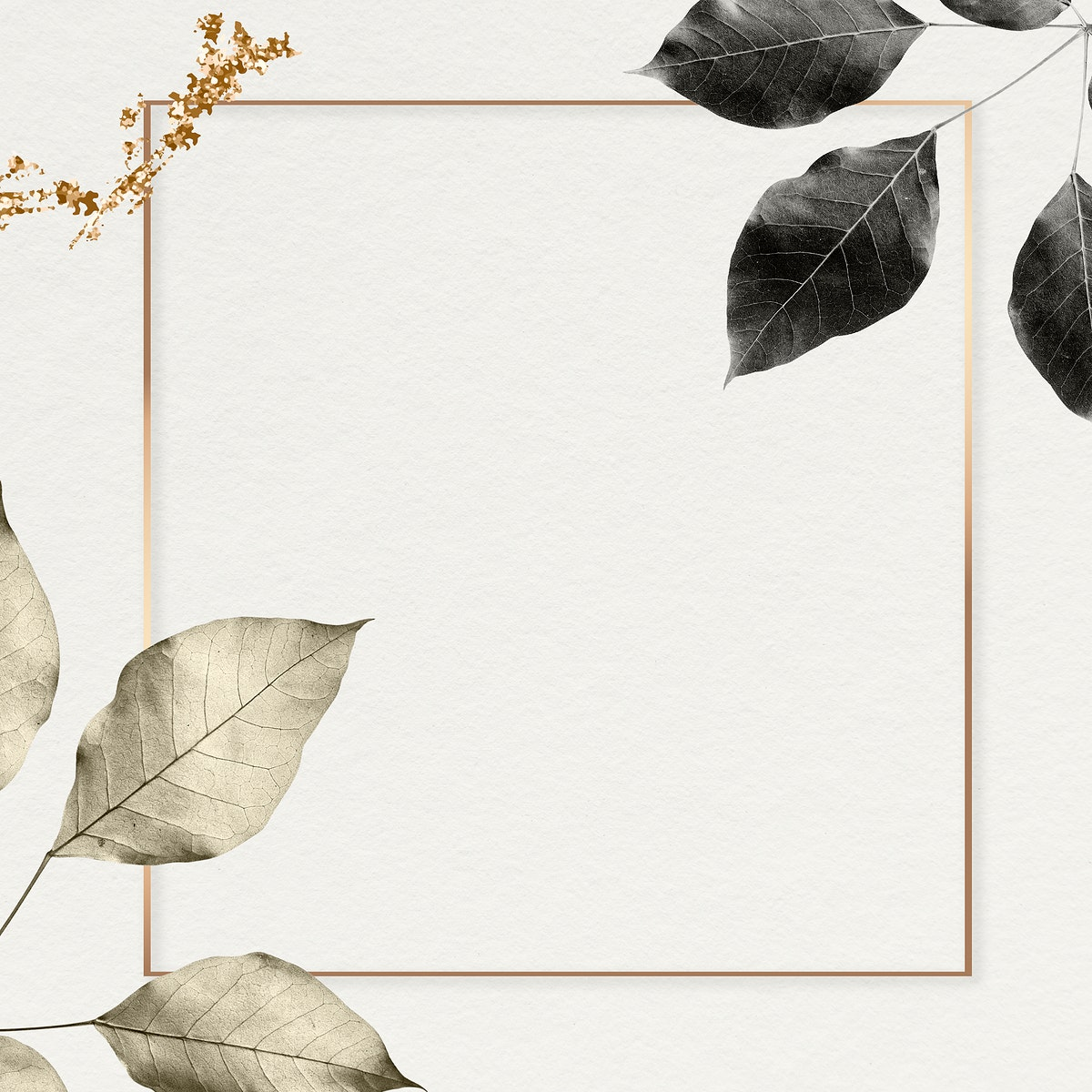 Gold frame with foliage pattern on marble textured background illustration
