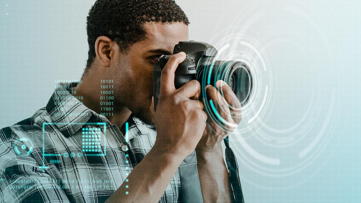 Male photographer taking a photo mockup
