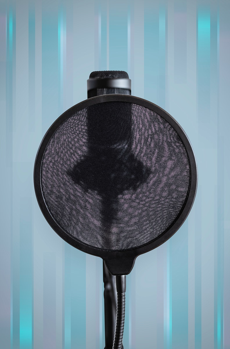 Professional condenser microphone with a pop filter in a studio