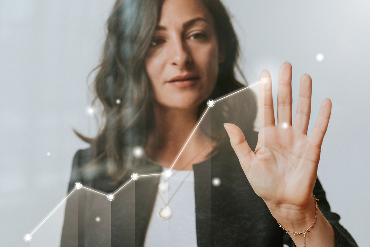 Woman touching a screen with her palm mockup