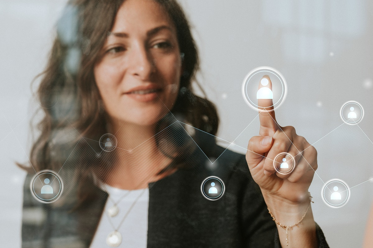 Woman pressing her finger to a screen mockup