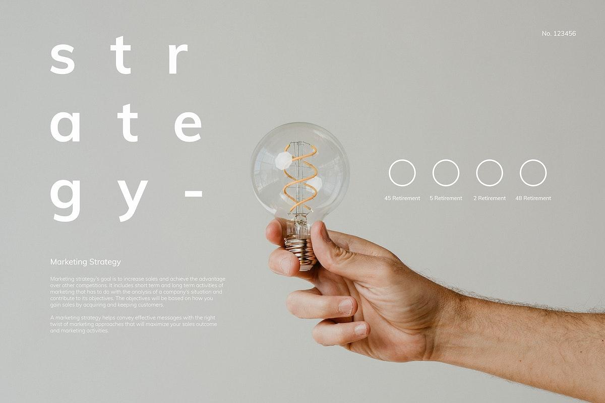 Hand holding a light bulb mockup