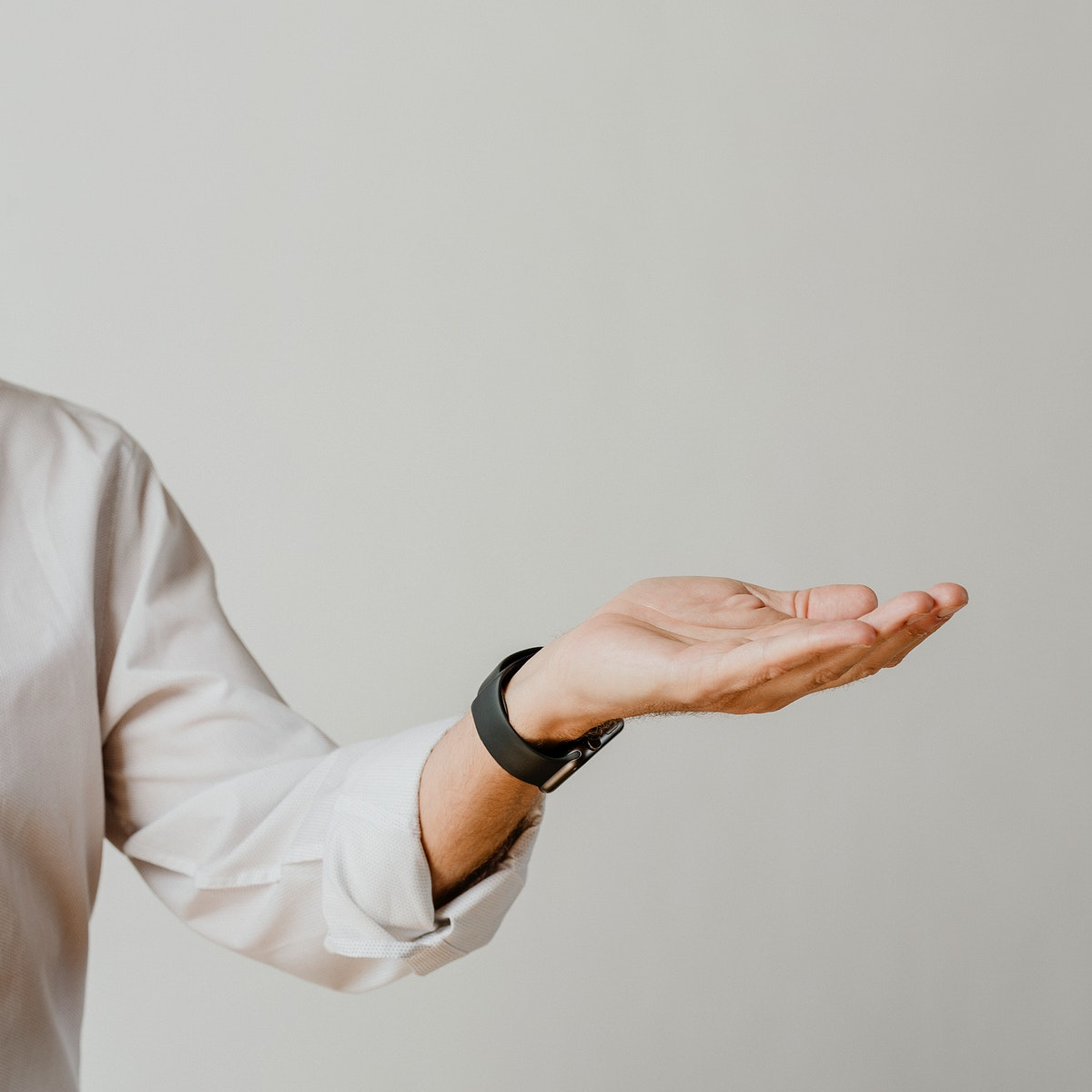 Man presenting thing on his palm