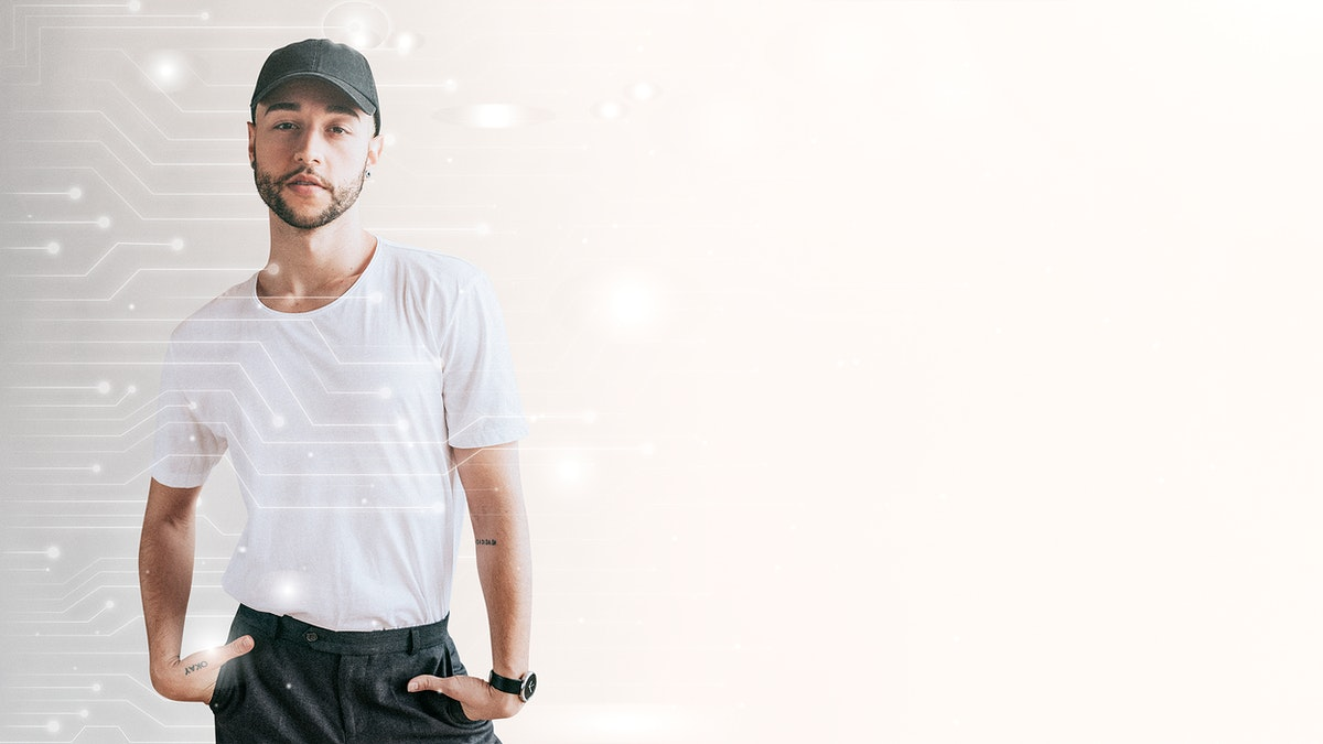 Man with a black cap mockup