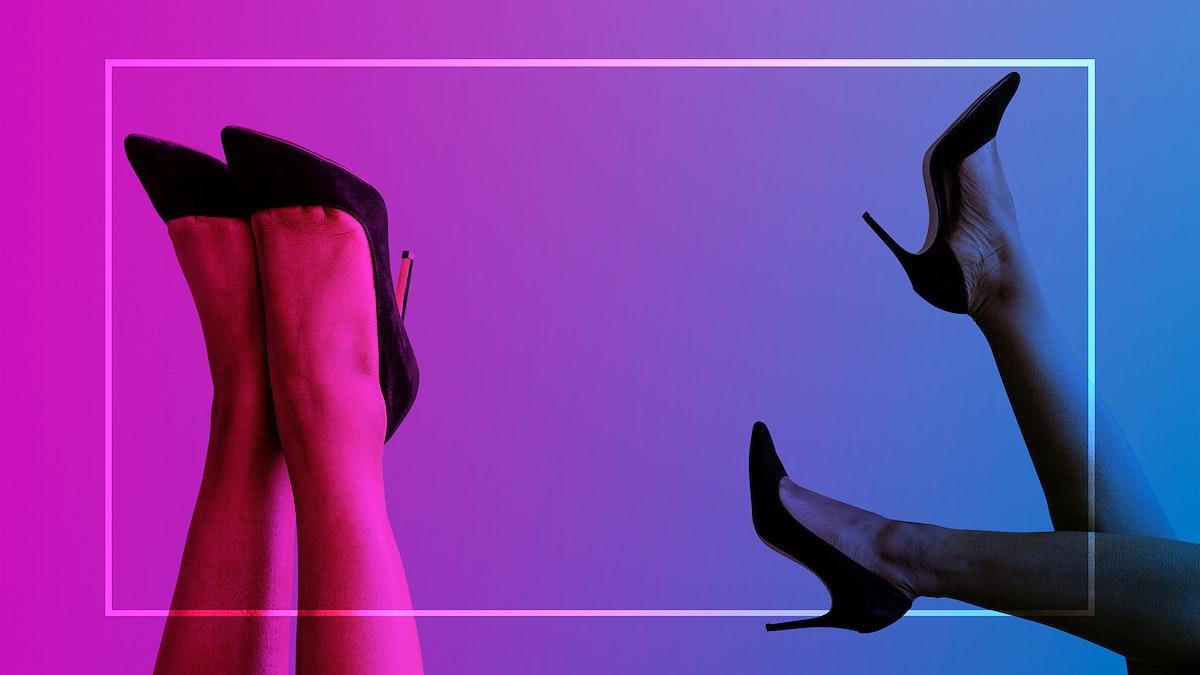 Woman legs with black heels social advertisement template