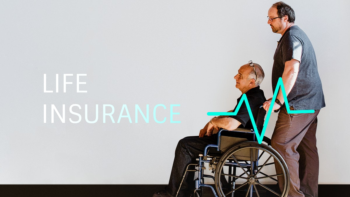 Man pushing his dad's wheelchair mockup