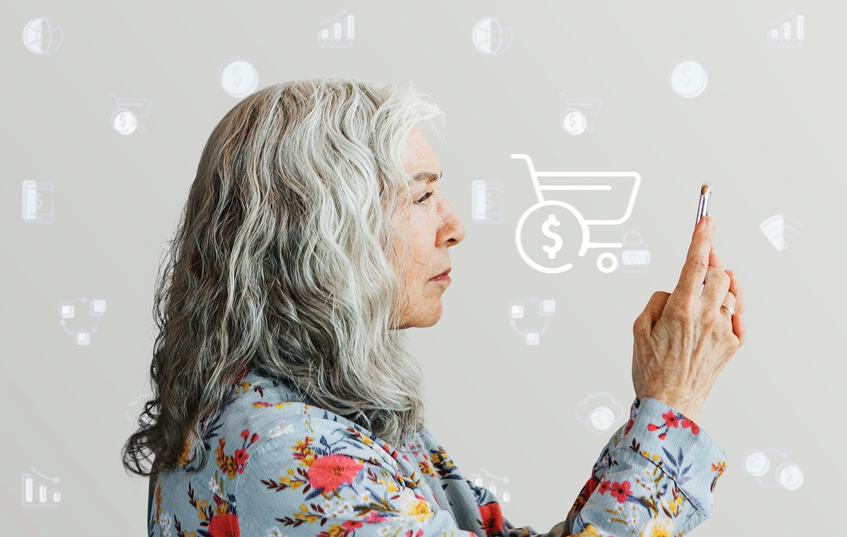 Senior woman using a smartphone for  online shopping