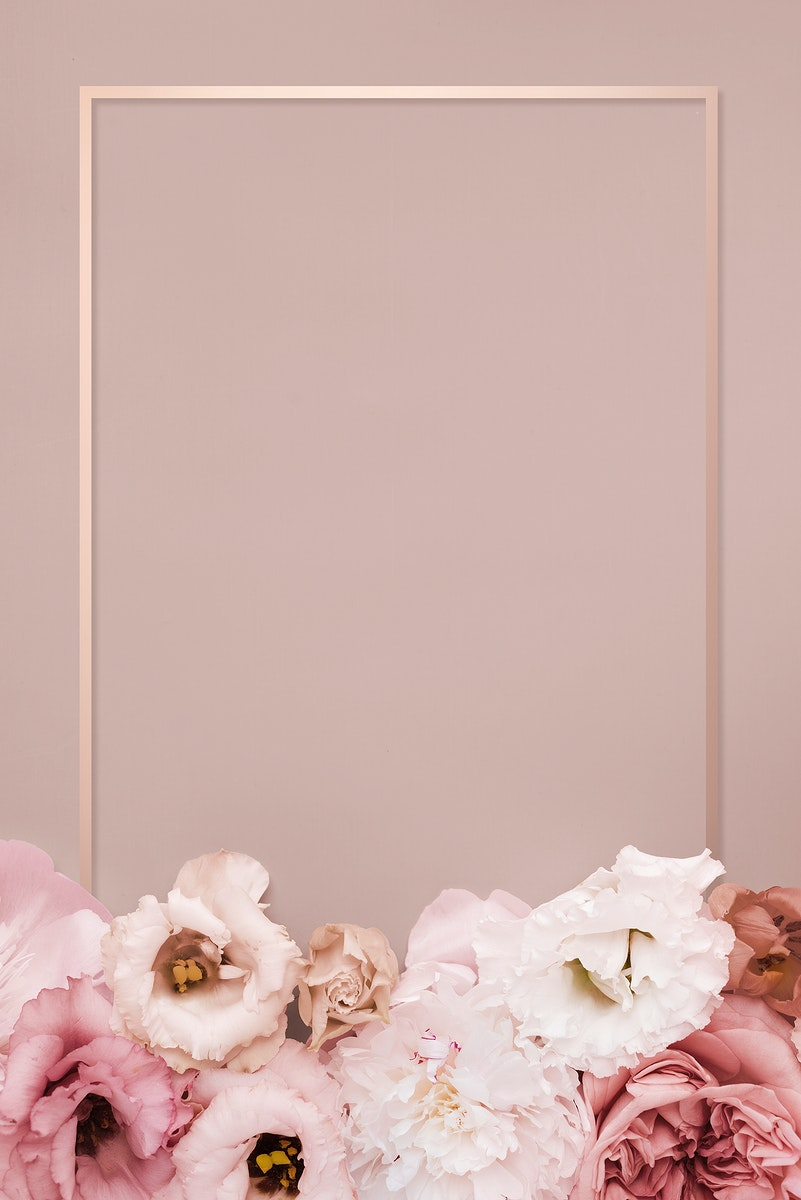 Beautiful pink floral rectangle frame