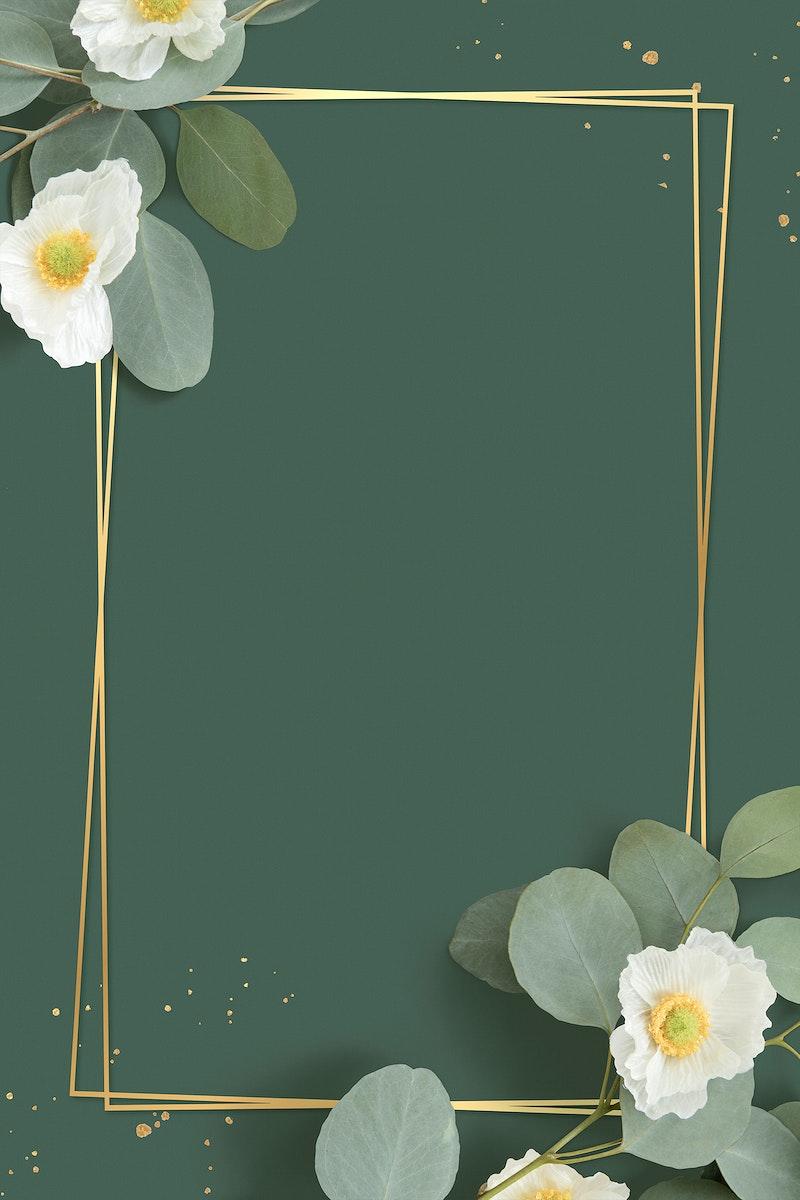 Golden floral frame on a green background