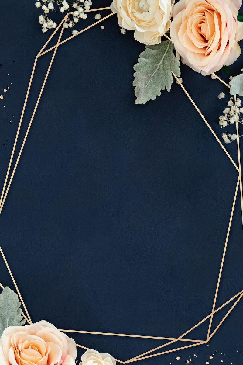 Floral rosy golden frame design