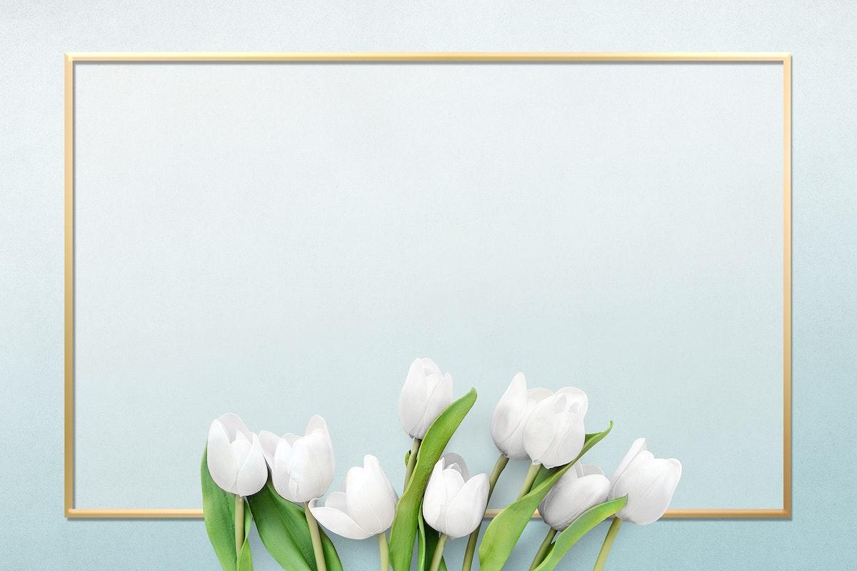 Golden rectangle tulip floral frame design