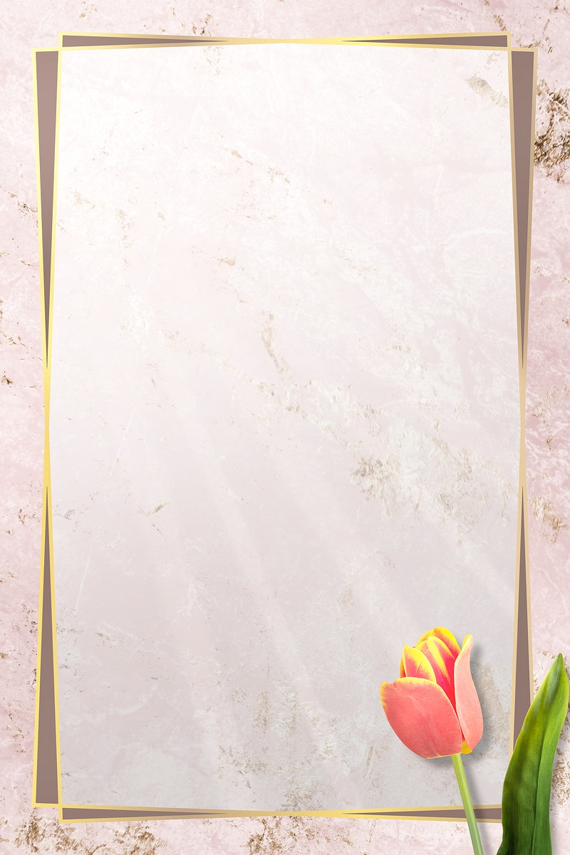 Golden floral tulip frame design