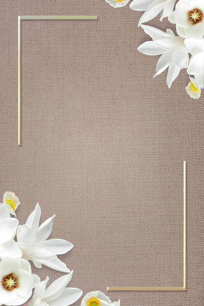 Golden blooming floral frame design