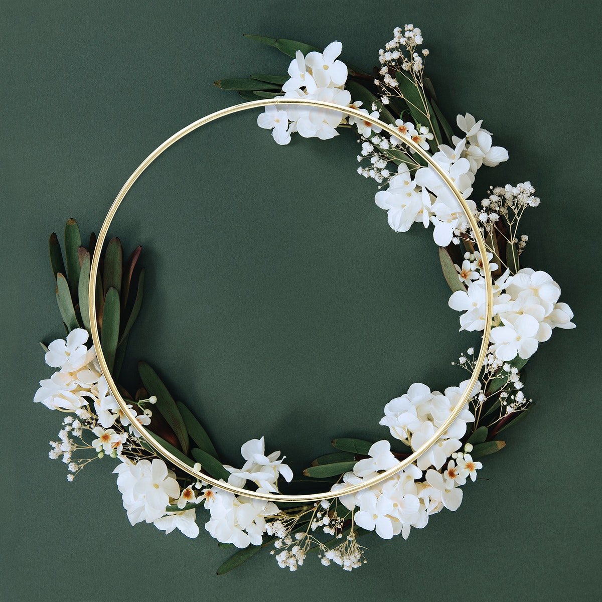 Golden round floral frame design