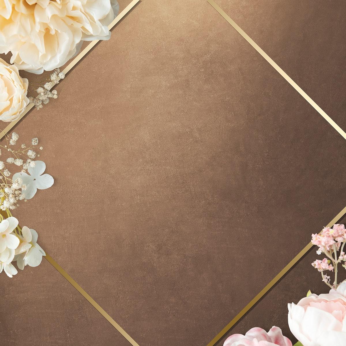 Golden floral rhombus frame design