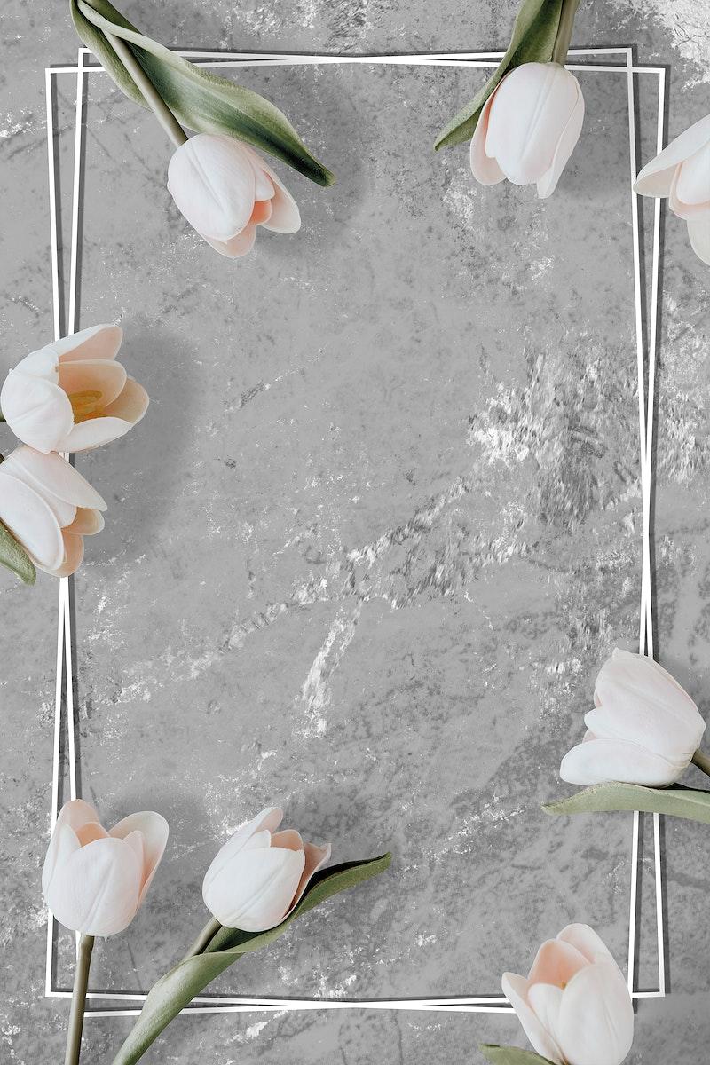 White floral tulip marble frame