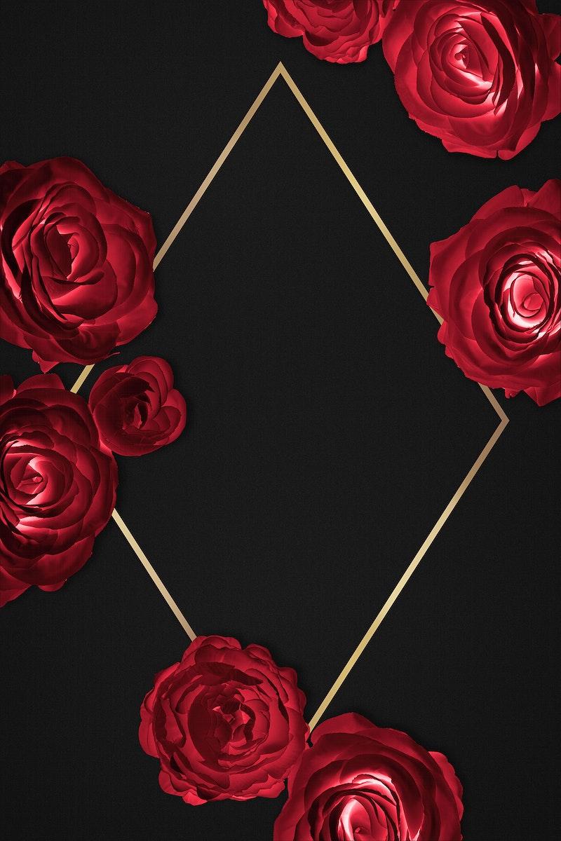 Rosy golden rhombus frame design