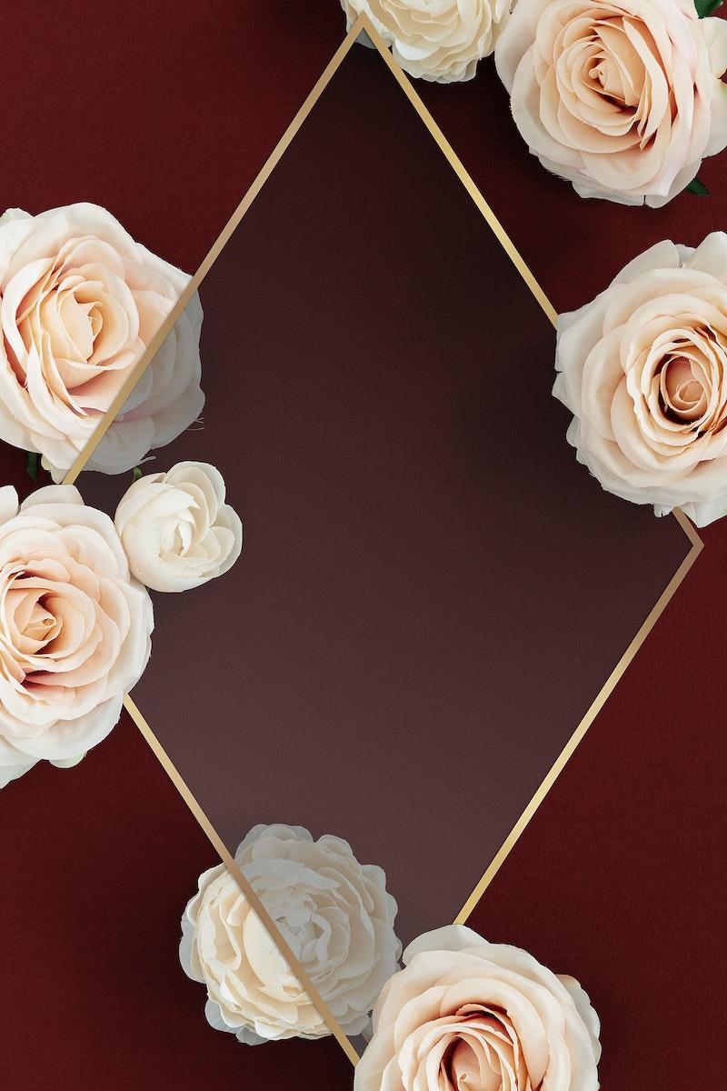 Blank golden rose frame design