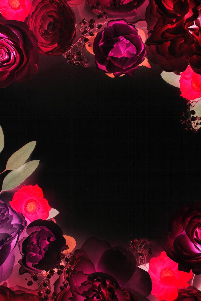 Blooming red floral frame design