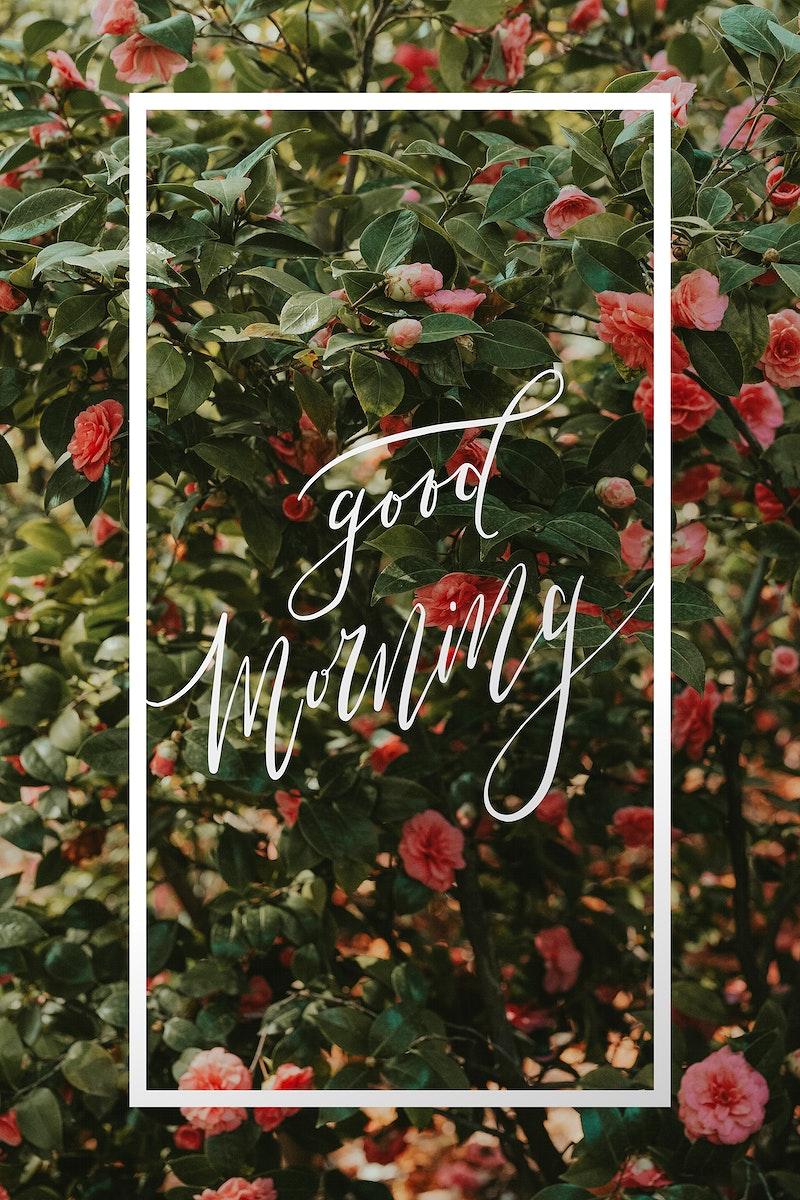 Good morning floral rectangle frame