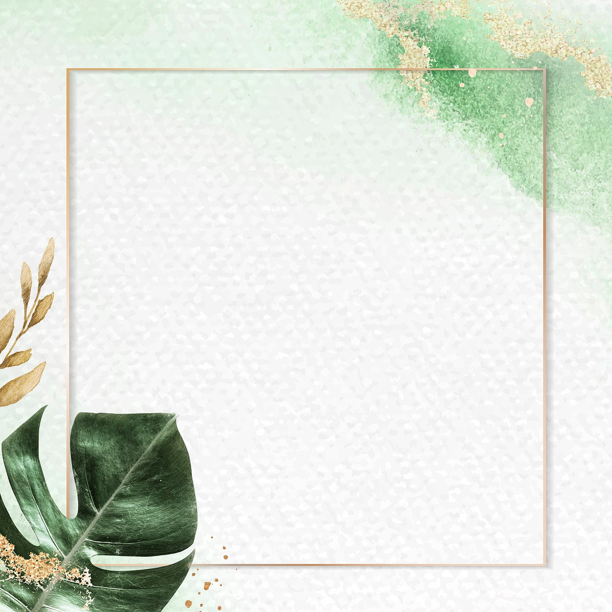 Square gold frame with monstera leaf background vector