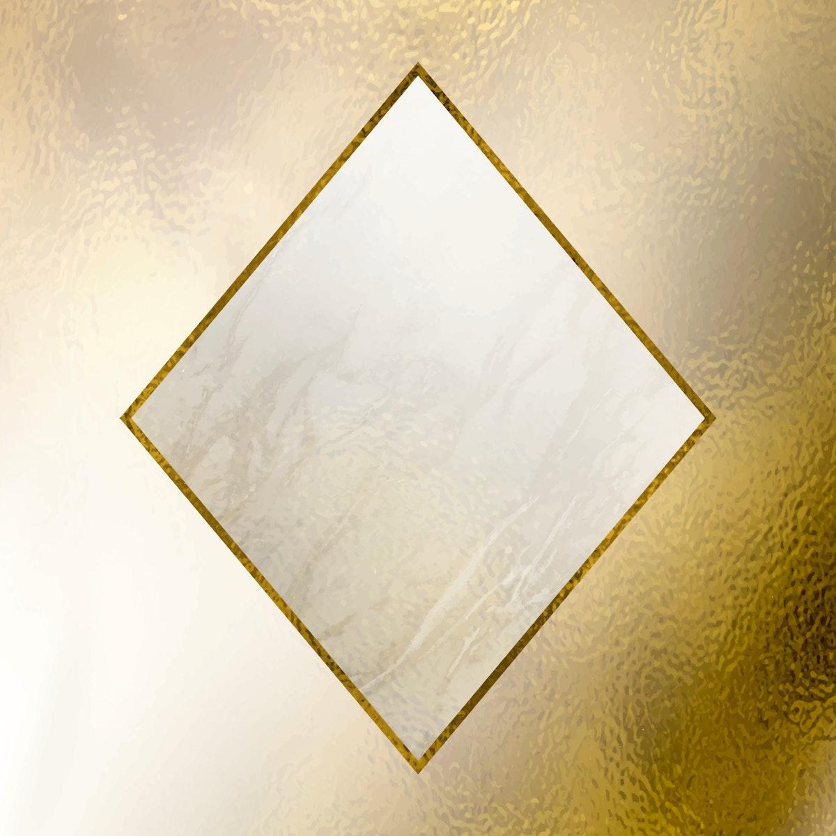 Rhombus gold frame mobile phone wallpaper vector