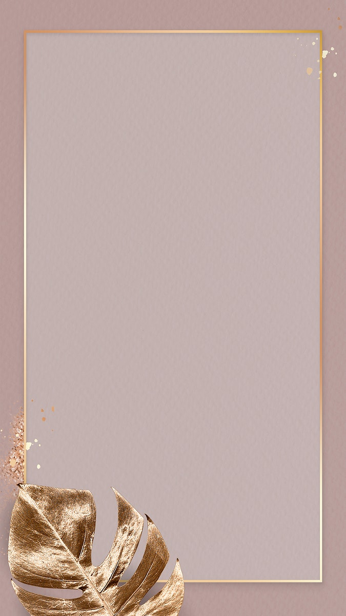 Gold frame with metallic monstera leaf mobile phone wallpaper vector