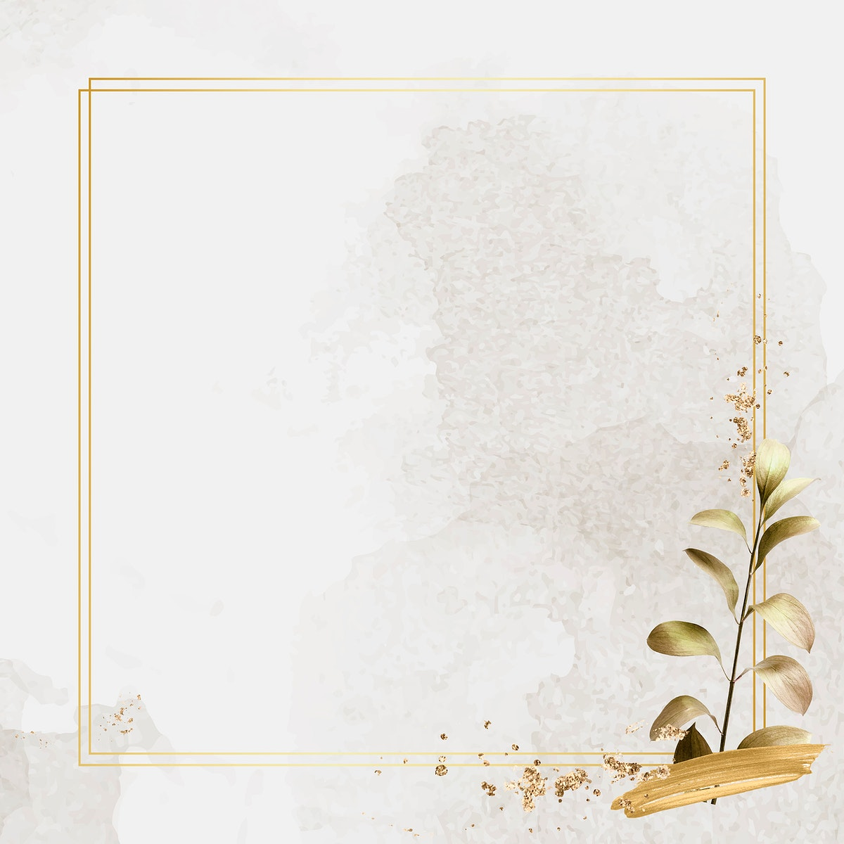 Square gold frame with metallic eucalyptus leaf background vector