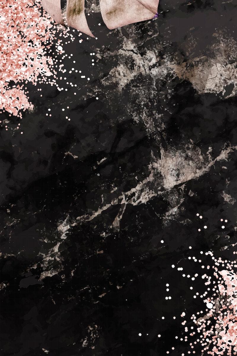 Metallic monstera leaf pattern background vector