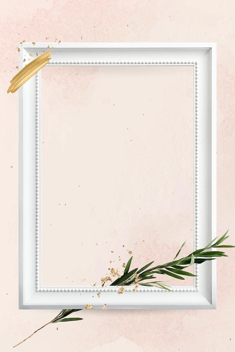 Rectangle white wooden frame with eucalyptus branch vector