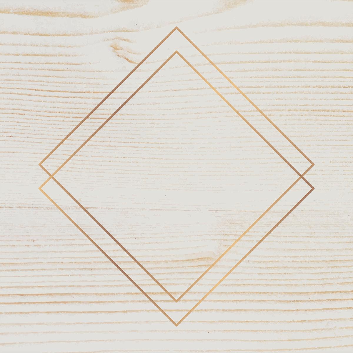 Gold frame on beige wooden background vector