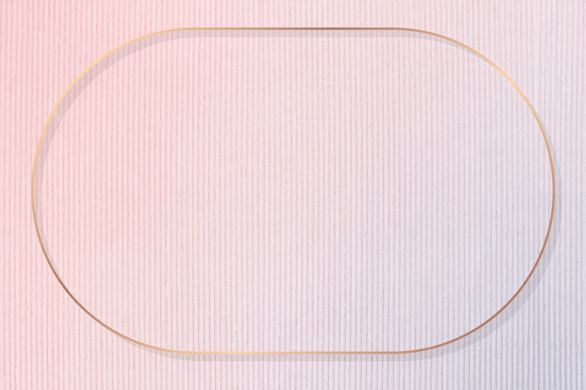 Oval gold frame on pink corduroy textured background vector