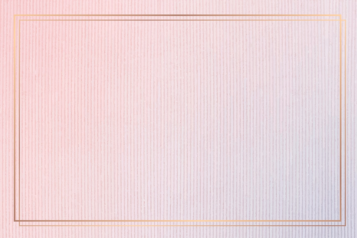 Rectangle gold frame on pink corduroy textured background vector