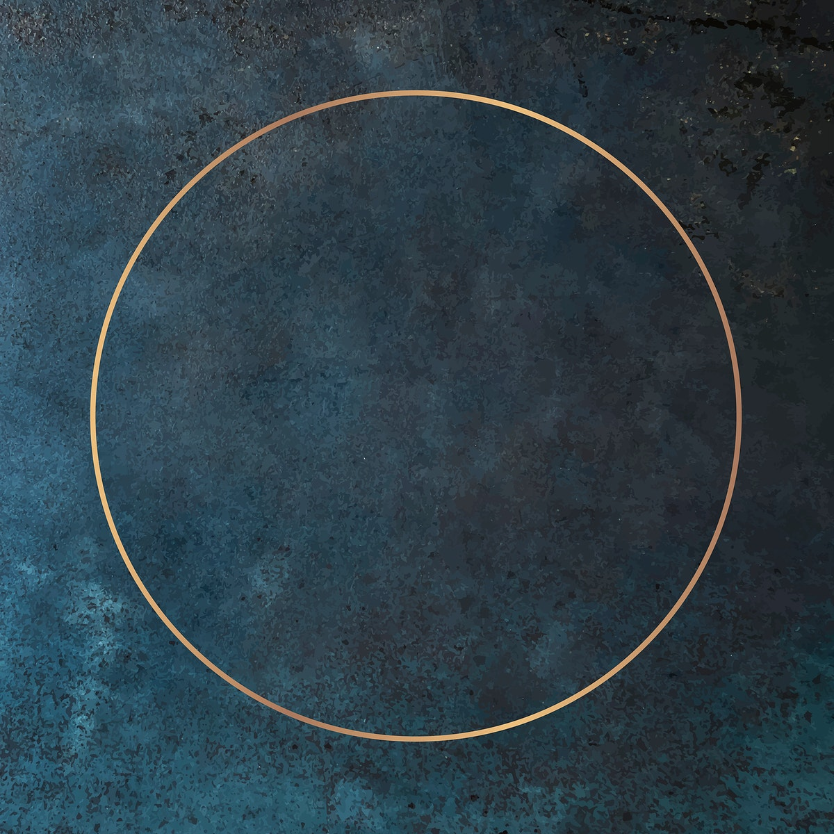 Round gold frame on grunge background vector
