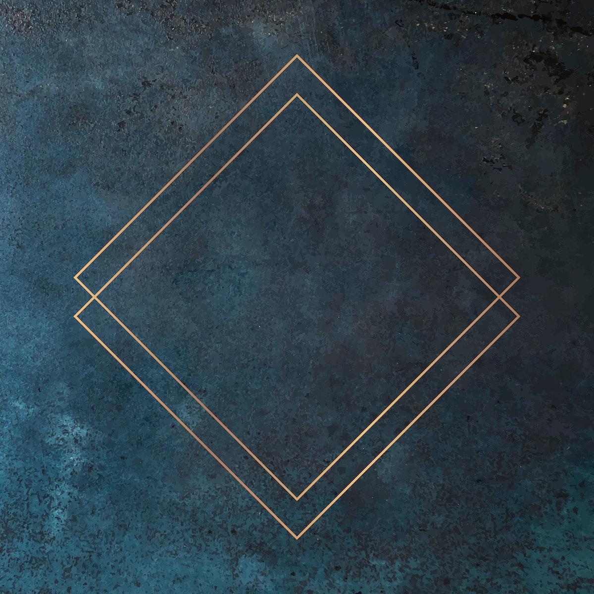 Rhombus gold frame on grunge background vector