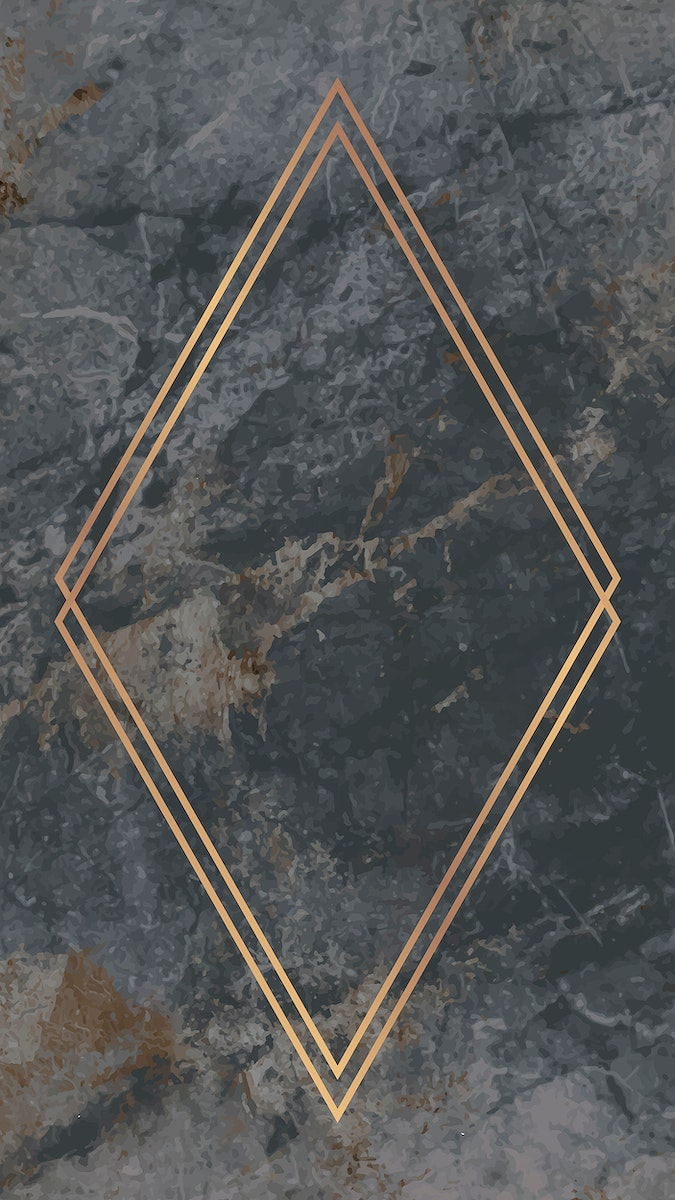 Rhombus gold frame on gray marble background vector