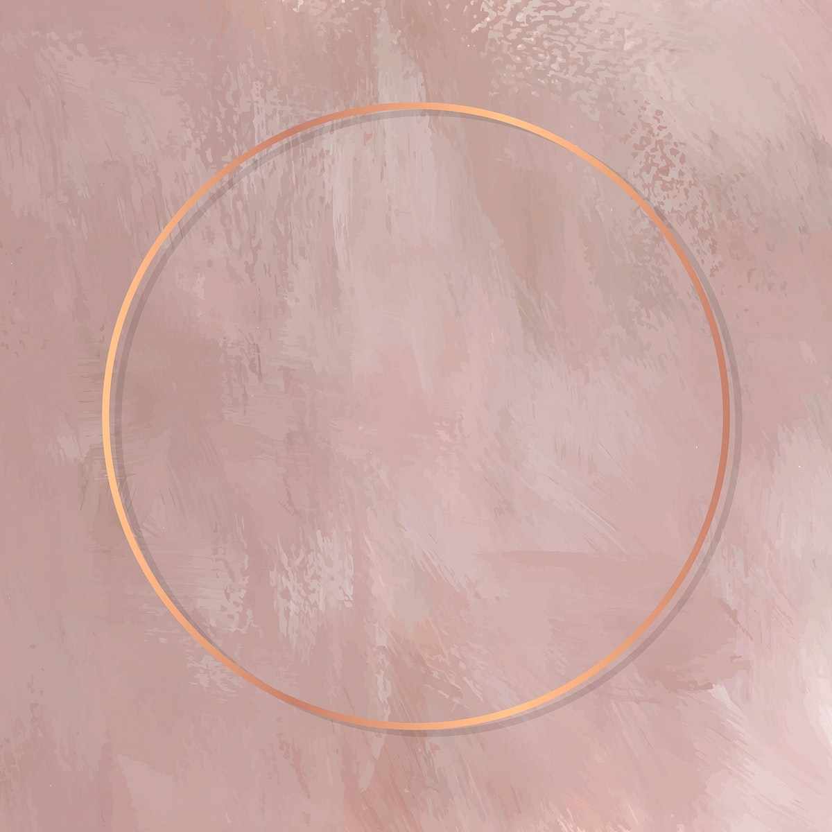 Round copper frame on pink background vector