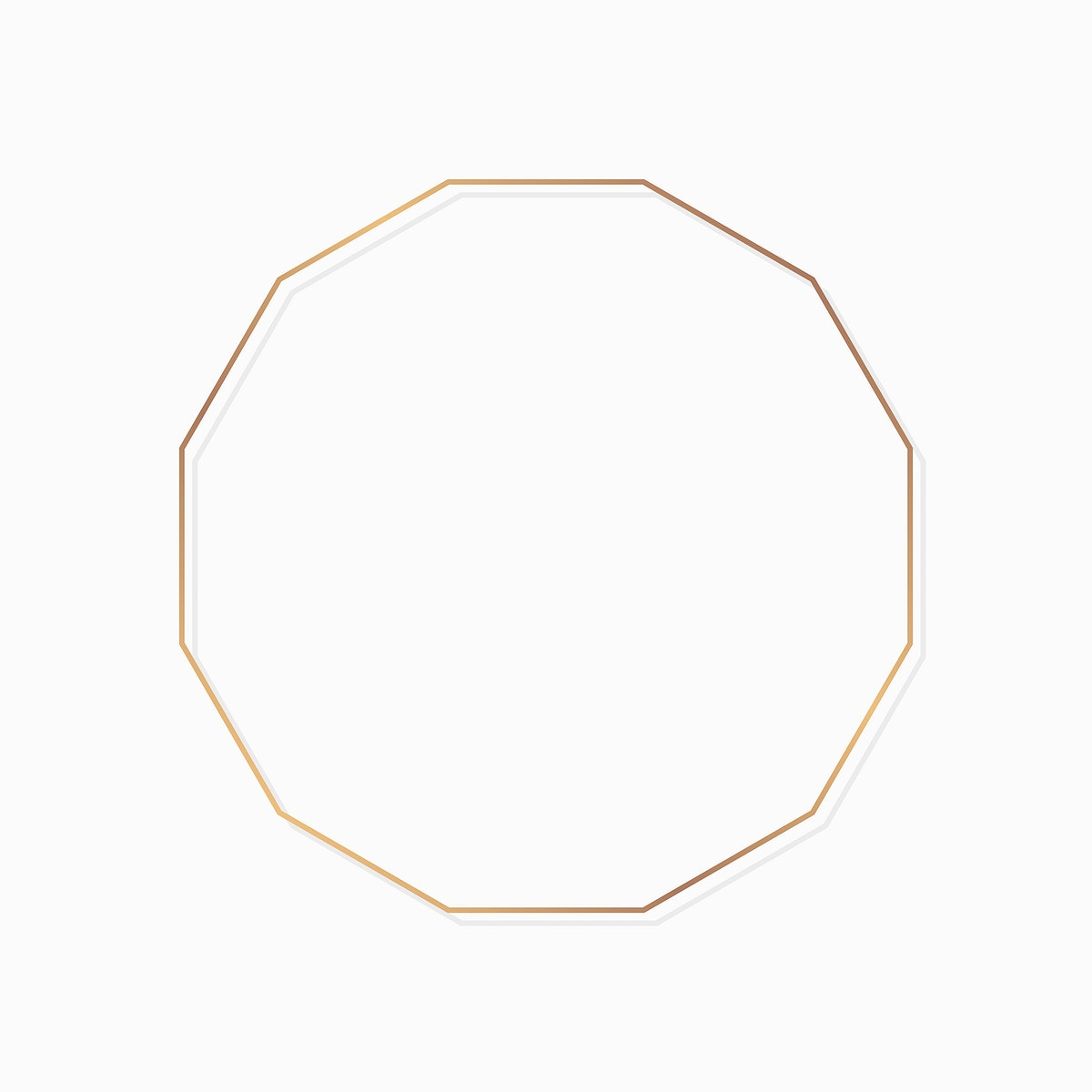 Polygon gold frame on white background vector