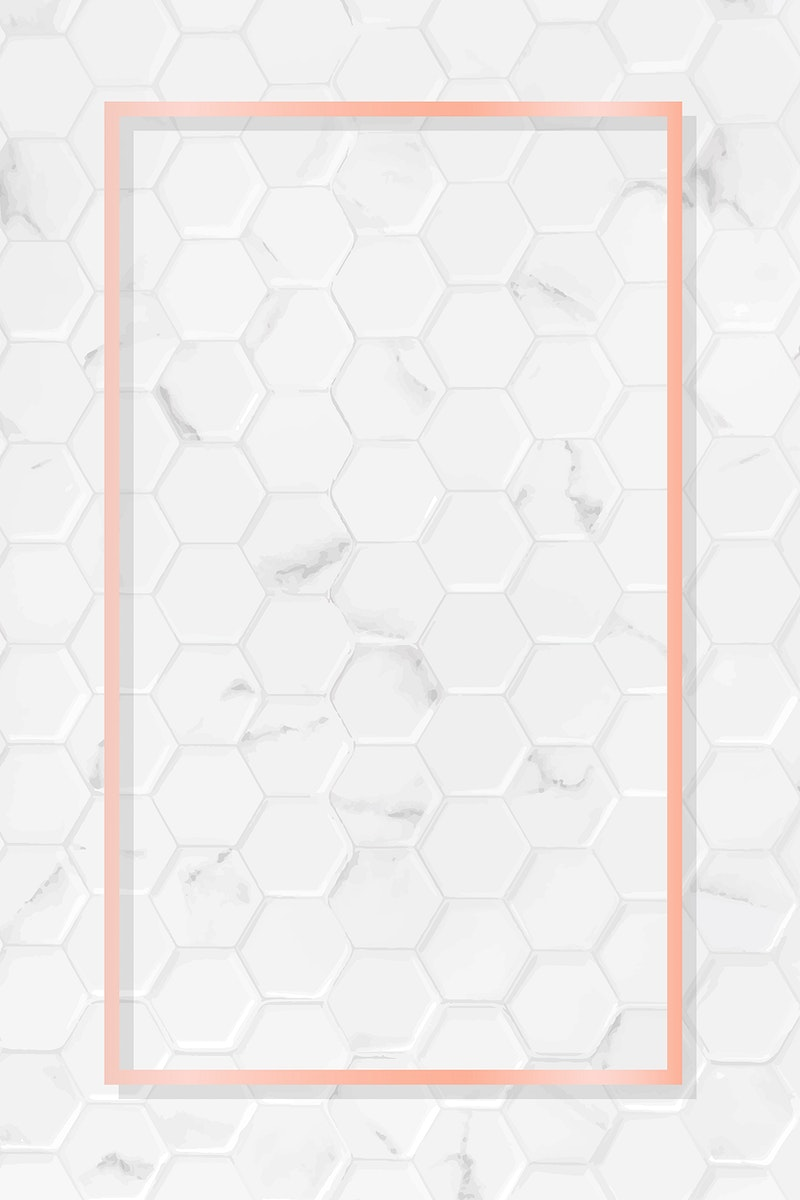 Rectangle pink gold frame on hexagon pattern white marble background vector