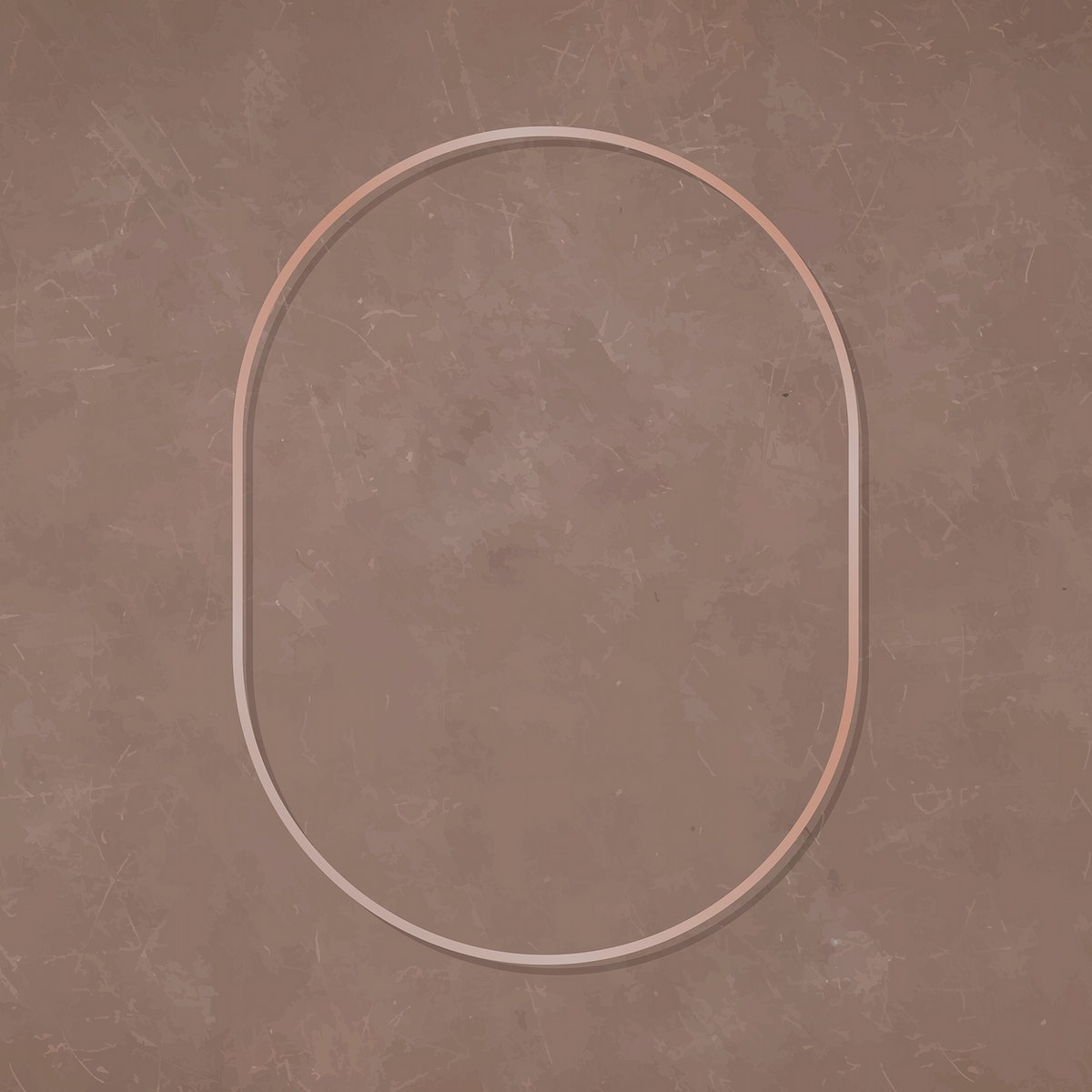Oval bronze frame on brown background vector