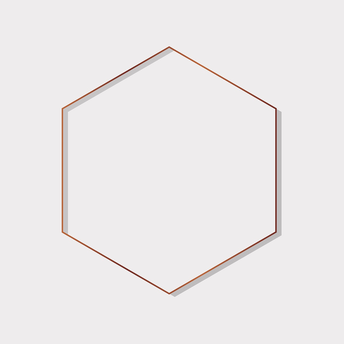 Gold hexagon frame on a blank background