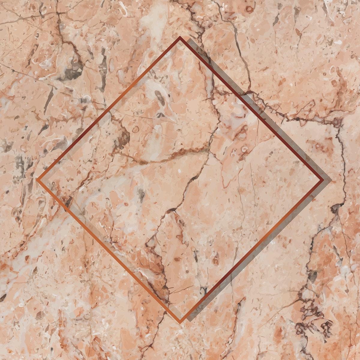 Rhombus copper frame on orange marble background vector
