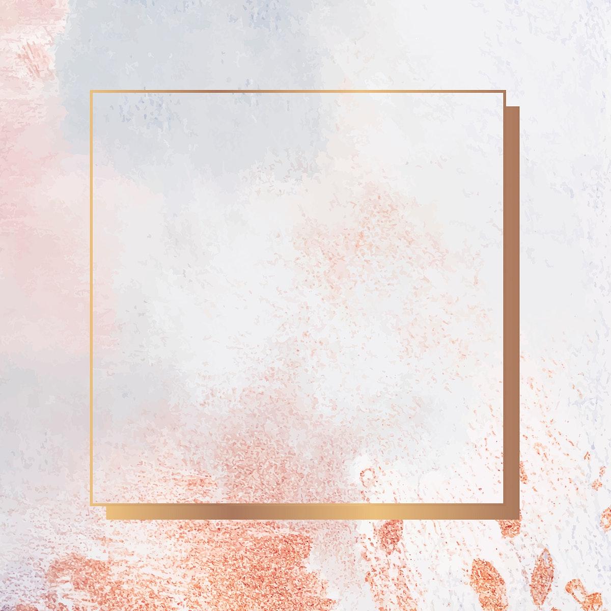 Square gold frame on grunge background vector