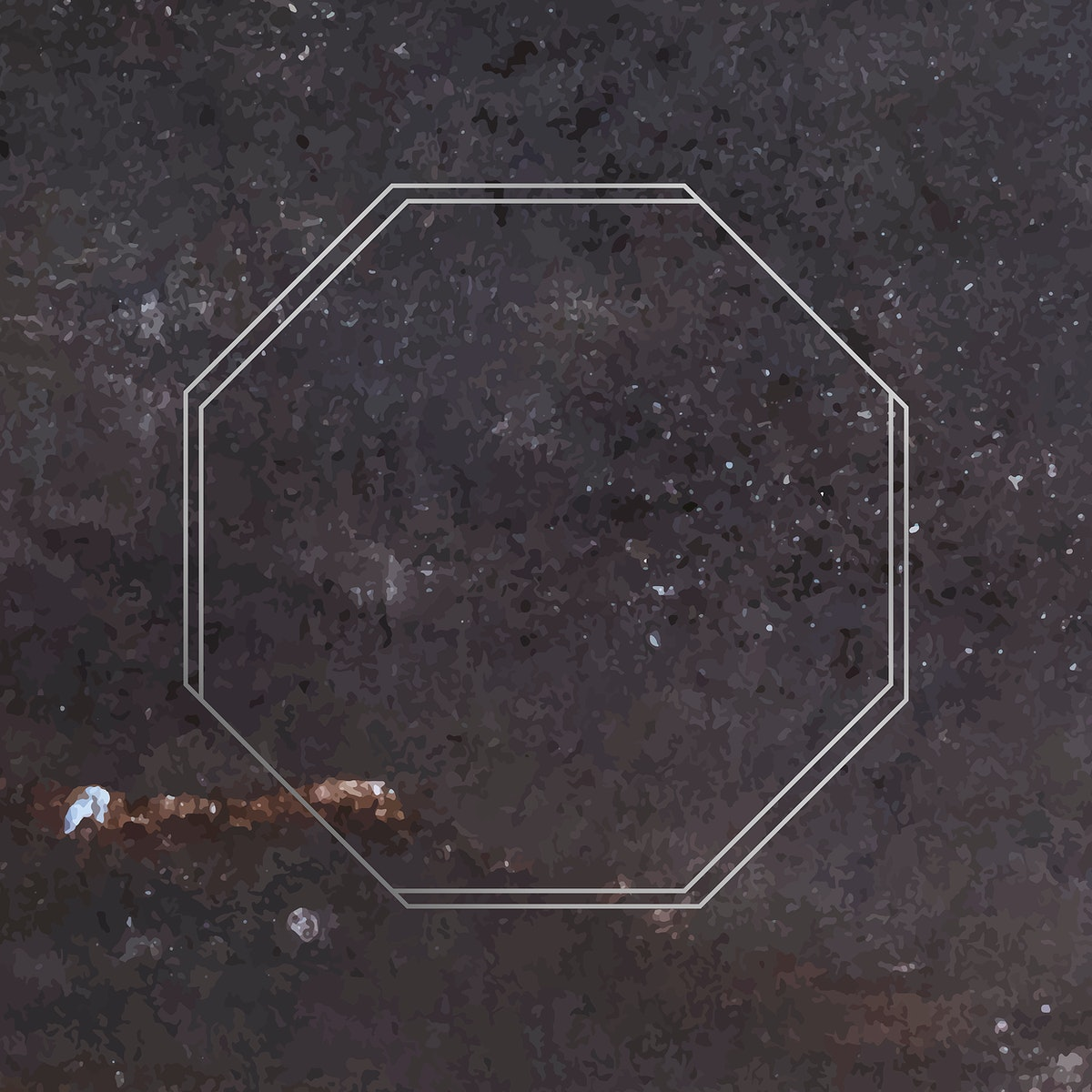 Octagon silver frame on marble background vector