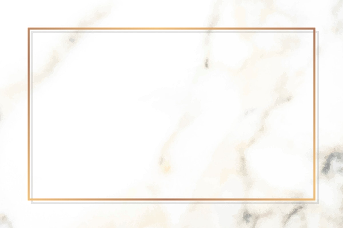 Rectangle gold frame on a white marble vector