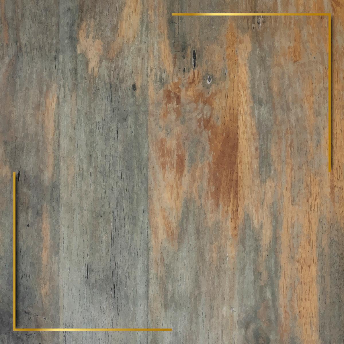 Gold frame on grunge wooden background vector