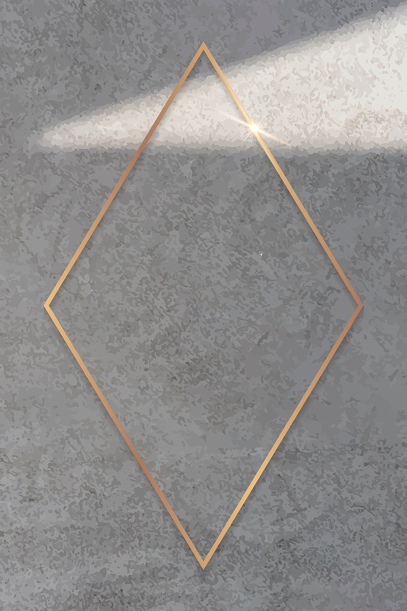 Rhombus gold frame on cement background vector