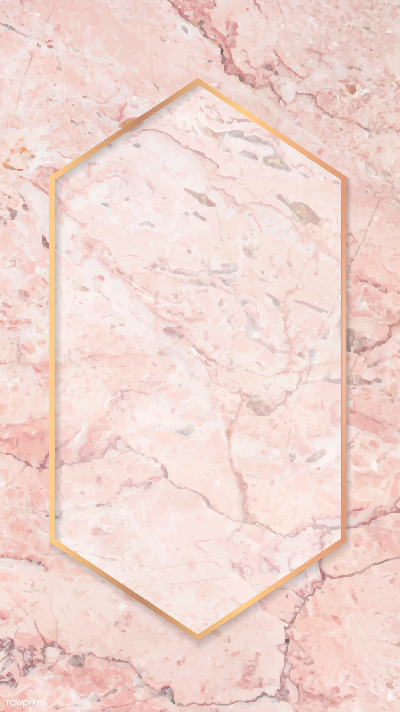 Download Premium Vector Of Hexagon Gold Frame On Pink Mobile Phone